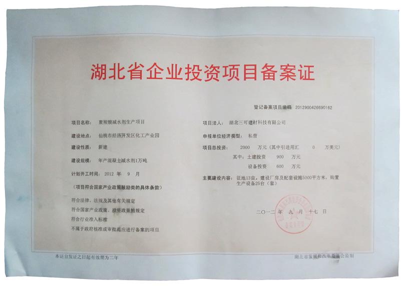 湖北省企业投资项目备案证